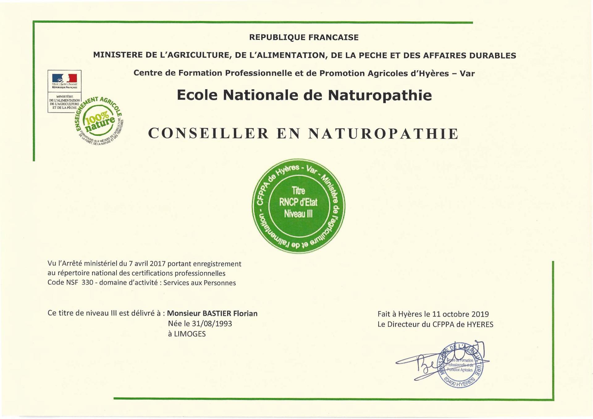 Diplôme Naturopathie