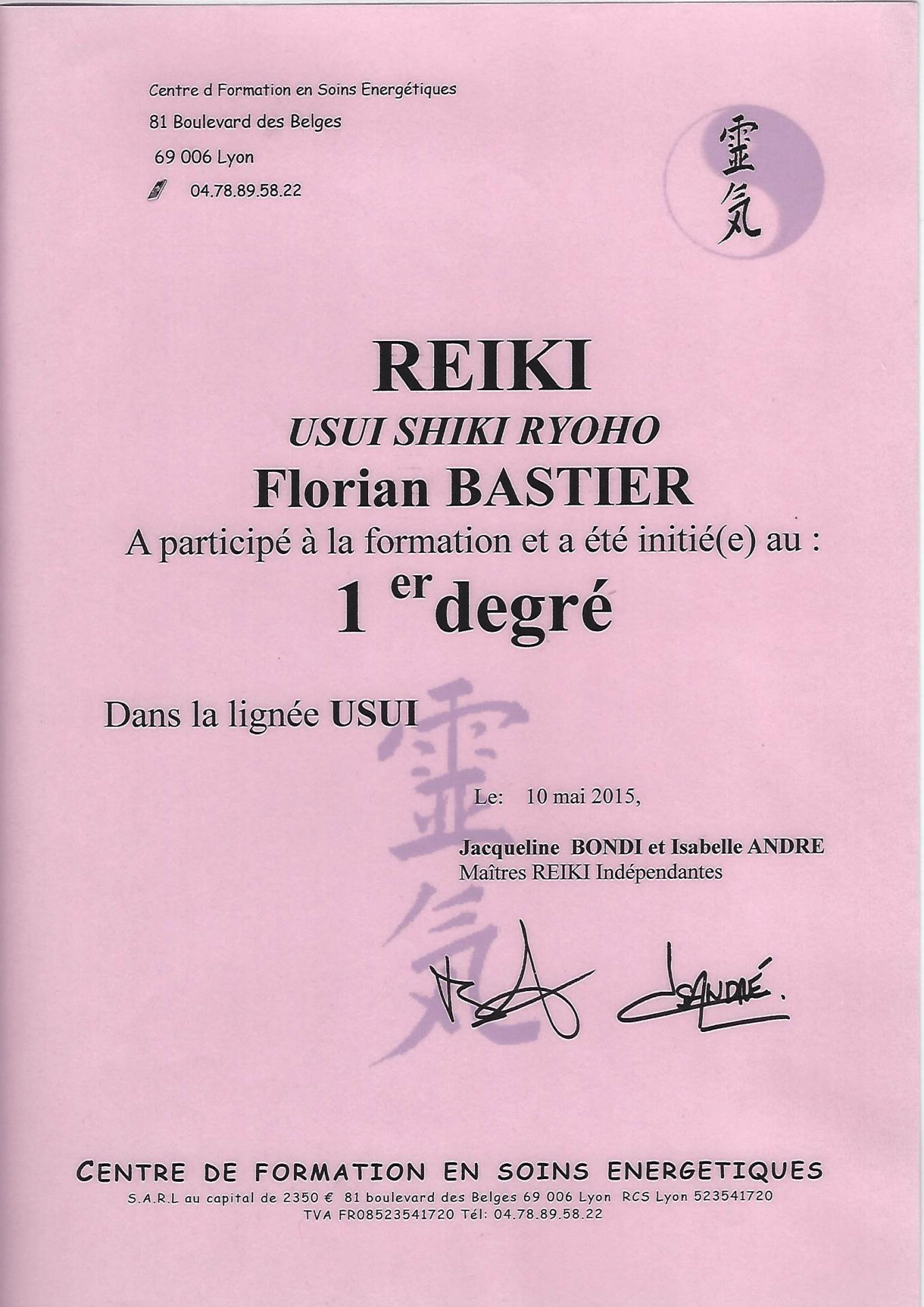 Reiki 1er degré